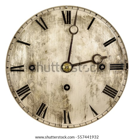 Sepia toned image of an old clock face isolated on a white background #557441932