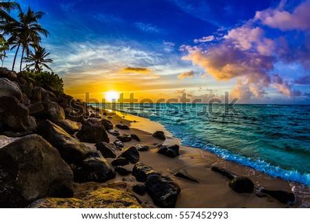 Beautiful Hawaiian Sunset on the North Shore of Oahu Royalty-Free Stock Photo #557452993