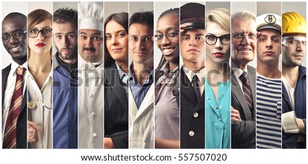 Montage about different professions Royalty-Free Stock Photo #557507020