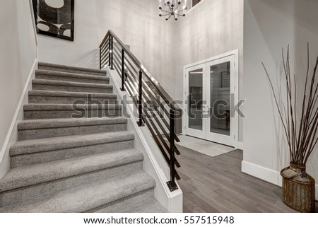 Two story foyer in new construction home boasting staircase with metal railings and dark hardwood floors. Northwest, USA #557515948
