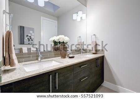 Gray and clean bathroom design in brand new home features double sink vanity with dark wood cabinets, granite countertops and glass taupe backsplash. Northwest, USA #557521093