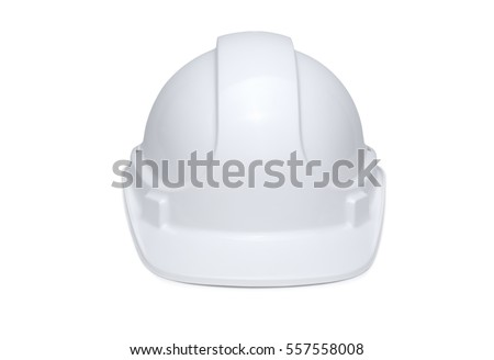White hard hat isolated on white background with soft shadow under brim, front view. #557558008