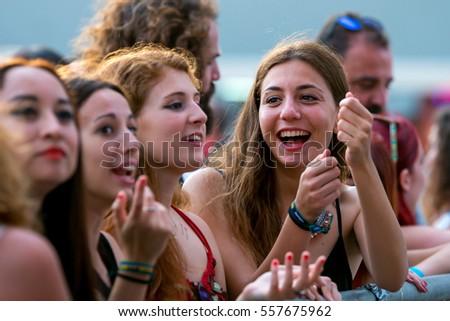 VALENCIA, SPAIN - JUN 10: The crowd at Festival de les Arts on June 10, 2016 in Valencia, Spain. #557675962