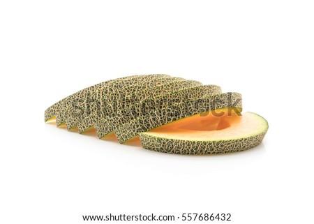 cantaloupe melon on white background #557686432