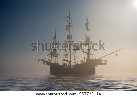 Spooky ghost pirate ship in the fog