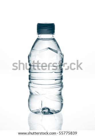 purified spring mineral water in the bottle with reflection #55775839