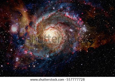 Galaxy and nebula. Elements of this Image Furnished by NASA Royalty-Free Stock Photo #557777728