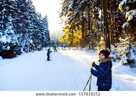 boys on skis in winter forest #557818252