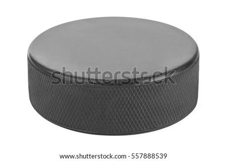 Ice hockey puck isolated on white background #557888539