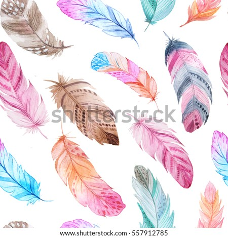 Seamless pattern with isolated watercolor feathers. Hand painted  colorful feathers. Tribal boho aztec background perfect for textile