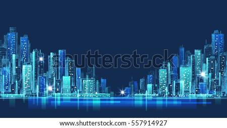 City skyline panorama at night, hand drawn cityscape #557914927