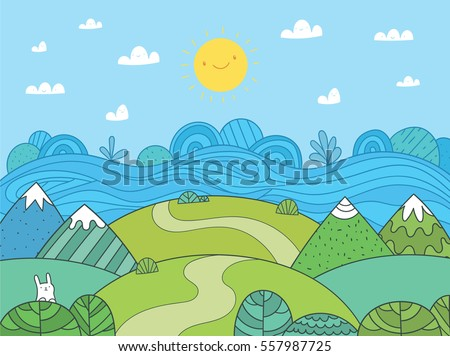 Cute cartoon meadow with mountain, river and bunny