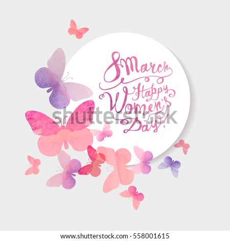 8 march. Happy Woman's Day! Vector congratulation card with pink watercolor butterflies