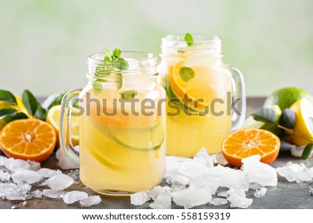Cold and refreshing citrus fruit lemonade in mason jars with orange , lime and lemon #558159319