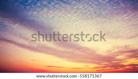 After sunset sky with cloud pattern. Beautiful nature background. #558171367