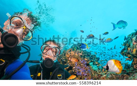 Couple of scuba divers looking at camera underwater. Beautiful coral reef with many fish on background Royalty-Free Stock Photo #558396214