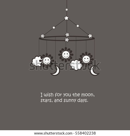 Baby Mobile - sun, stars, moon, clouds - I wish for you the moon, stars, and sunny days.