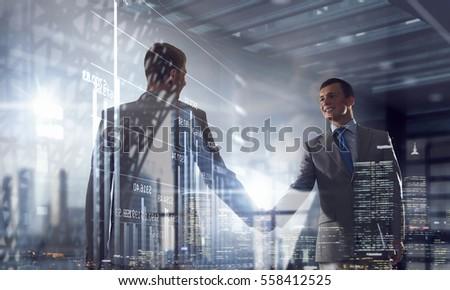 Nice to meet you partner . Mixed media Royalty-Free Stock Photo #558412525