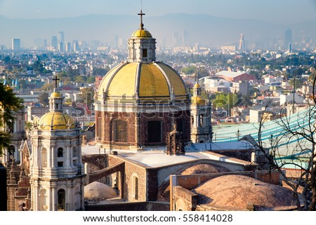 View of Mexico City from the Hill of Tepeyac with the Basilica of Guadalupe on the foreground #558414028