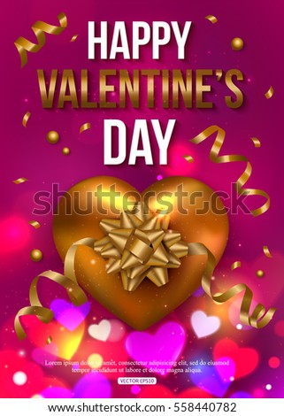 Valentines Day background with colorful hearts. Vector illustration.  #558440782