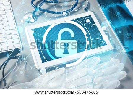 White tablet pc and access security concept on media screen #558476605