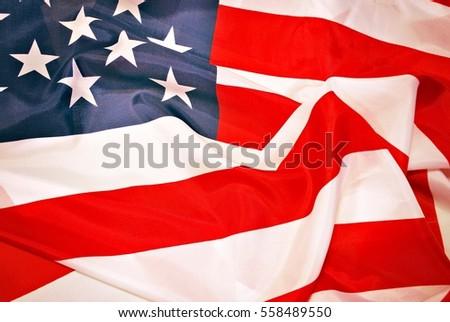 Closeup of American flag #558489550
