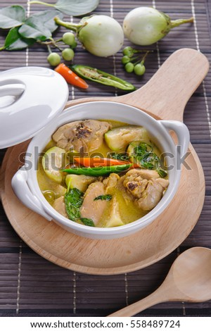 spicy hot chicken green curry with coconut milk soup in bowlthai foodselective focus. #558489724