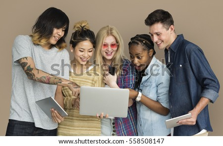 Friends Using Tablet Technology Phone #558508147