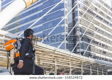 Moment middle aged Businessman running fast upstairs. Horizontal outdoors shot,image leg walking up stairs in city to success,Space for copy text. #558524872