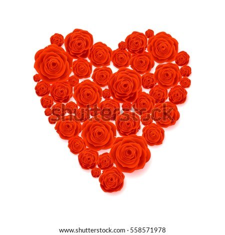 Red Rose Heart Isolated on White Background. Happy Valentine's Day Card. Wedding Poster. #558571978