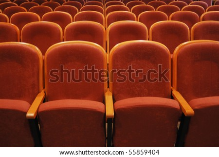 empty auditorium with red chairs, theatre or conference hall #55859404