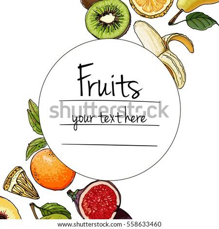 Fruits drawn a color line on a white background. Vector sketch. Sketch line. Apple, pear, peach, lemon, orange, lime, Tangerine, kiwi, figs, banana #558633460