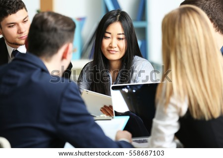 Business people working in conference room Royalty-Free Stock Photo #558687103