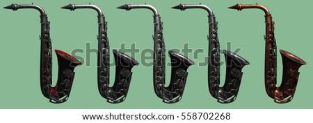 saxophone old 3d rendering different materioals 3d rendering #558702268