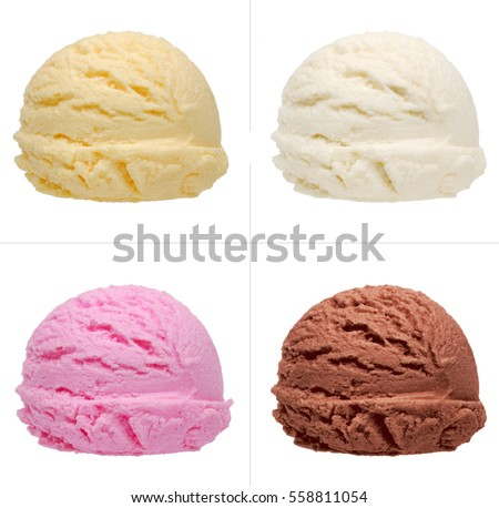 Strawberry, vanilla, chocolate different flavor ice cream scoops side view on white background #558811054