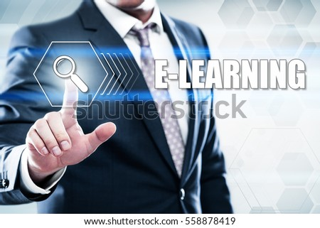 Business, technology, internet concept on hexagons and transparent honeycomb background. Businessman  pressing button on touch screen interface and select  e-learning #558878419