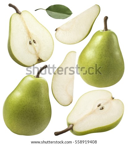 Green pear pieces set collection isolated on white background as pack design element Royalty-Free Stock Photo #558919408