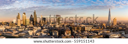 Sunset over the new skyline of London, United Kingdom