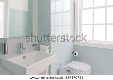 Clean and fresh bathroom with natural light Royalty-Free Stock Photo #559170985