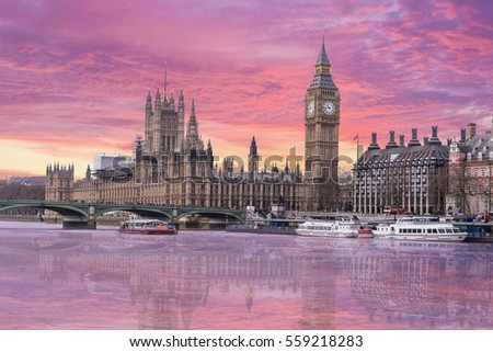 City of London England Skyline from Thames River, Parliament, Westminster, Big Ben, Sunset Sky Reflection #559218283