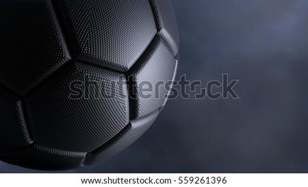 Metallic black soccer ball. 3D illustration. 3D CG. High resolution. Format 16:9.