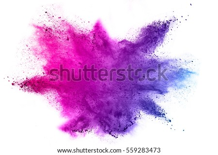 Explosion of colored powder on white background Royalty-Free Stock Photo #559283473