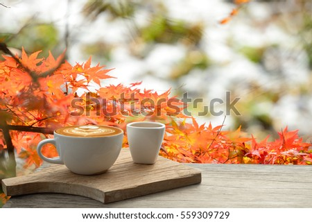 Cup of coffee latte on old bark in autumn with tree maple of colorful leaves in the garden with copy space. Seasonal fall and beautiful relax concept #559309729