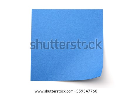 Blue paper stick note on a white background Royalty-Free Stock Photo #559347760
