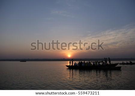 sunrise at ganga varanasi #559473211