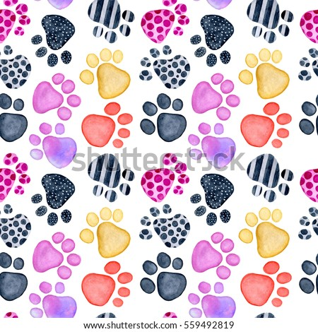 Watercolor Valentine's Day greeting card template, seamless pattern, poster, wrapping paper. Animals footprints