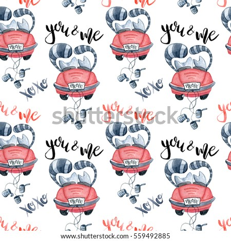 Valentine's Day greeting card template, seamless pattern, poster, wrapping paper. Watercolor cats in just married red car and brush lettering you and me