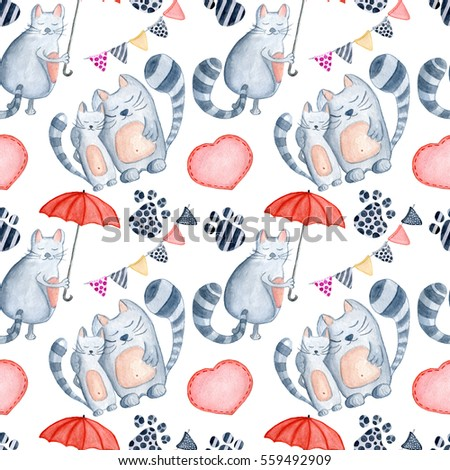 Valentine's Day greeting card template, seamless pattern, poster, wrapping paper. Watercolor  cats couple with red umbrella, footprint, hearts and other romantic elements