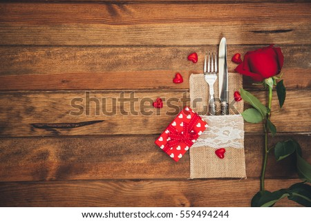 Romantic table setting for Valentines day  #559494244