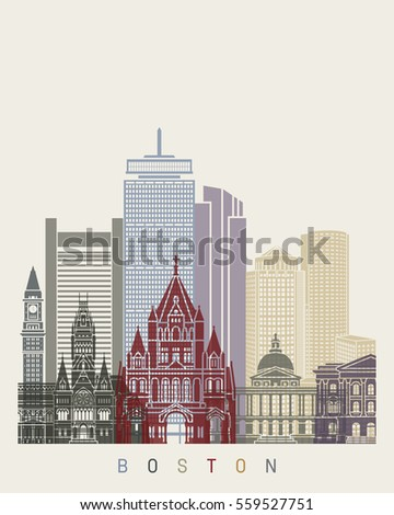 Boston skyline poster in editable vector file
